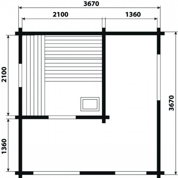 Sauna Modell 4039 M, 70 mm Wandstärke