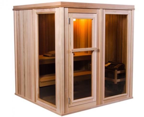 Moderne Sauna für 4 Personen, Massivholzsauna mit 35 mm Zedernholz