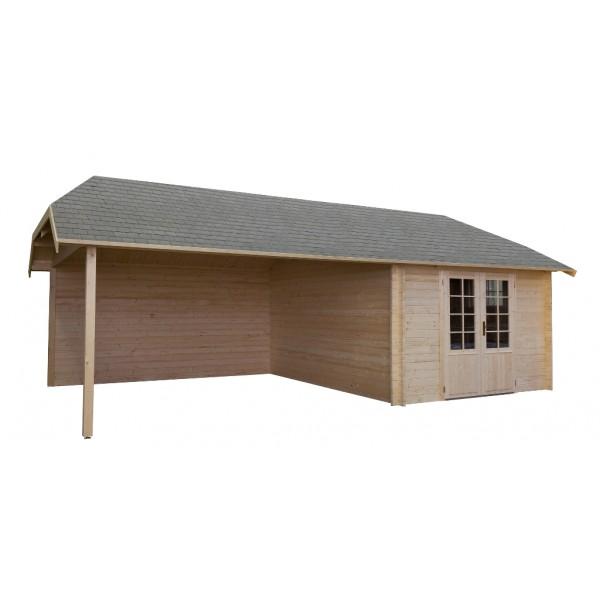gartenhaus modell wolfskap 4x3 4 430x776 cm incl vorbau 40mm stark blockhaus peter peters. Black Bedroom Furniture Sets. Home Design Ideas